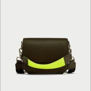 Zara Olive Crossbody Bag with Contrasting Strap